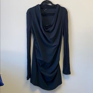 MC Planet dark navy dress with lace sleeves